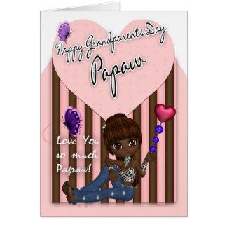Mamão, cartão do dia das avós - menina bonito