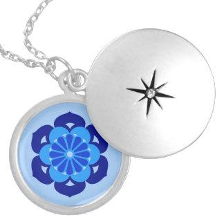 Mandala da flor de Lotus, índigo e luz - azul Colar Medalhão