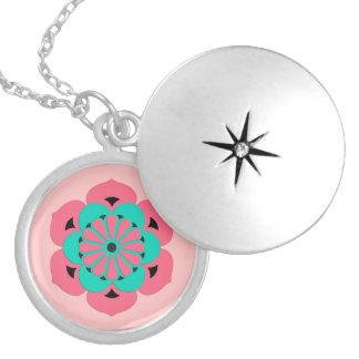 Mandala da flor de Lotus, rosa coral e turquesa Colar Medalhão