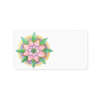 Mandala floral etiqueta de endereço
