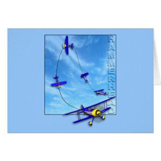 Manobra Aerobatic do Hammerhead com biplano Cartão Comemorativo