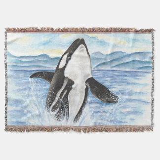 Manta Aguarela que rompe a baleia da orca