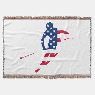 Manta Bandeira dos EUA do americano de esqui de América