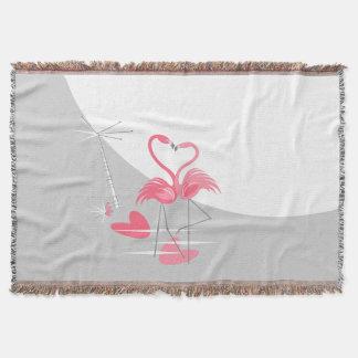 Manta Cobertura do lance da lua do amor do flamingo