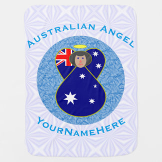 Manta De Bebe Anjo australiano no quadrado Squiggly branco e