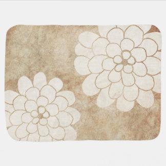Manta De Bebe Casamento floral da dália branca do vintage