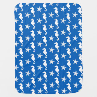 Manta De Bebe Cavalo marinho & estrela do mar - branco em azuis