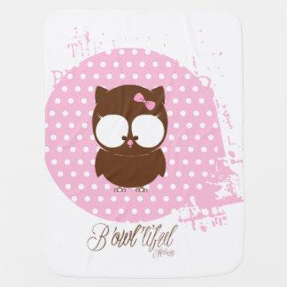 Manta De Bebe Cobertura cor-de-rosa e marrom do bebé da coruja