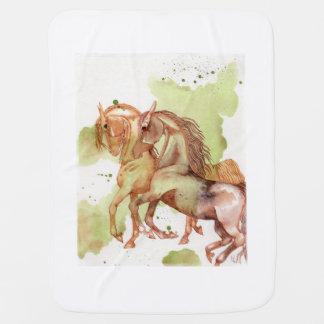 Manta De Bebe Cobertura eqüino do bebê da arte da aguarela