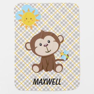 Manta De Bebe Cobertura personalizada do bebê do macaco