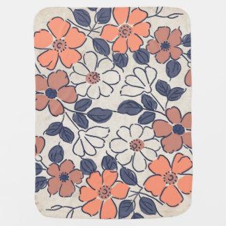 Manta De Bebe Coral do vintage e casamento floral do marinho