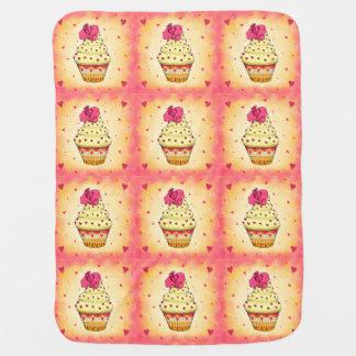 Manta De Bebe Cupcake delicada amarelas e rosa com