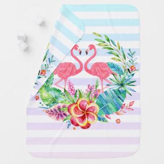 Manta De Bebe Flamingos bonitos com a grinalda tropical colorida