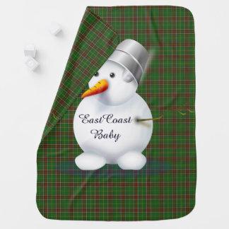 Manta De Bebe Tartan de Terra Nova do boneco de neve do Natal da