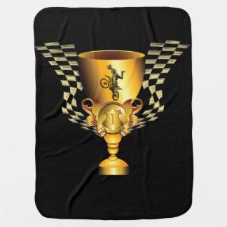 Manta De Bebe Troféu do campeão do motocross com bandeiras