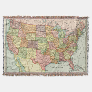 Manta Mapa dos EUA do vintage