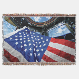 Manta Órbita de terra da bandeira americana da estação