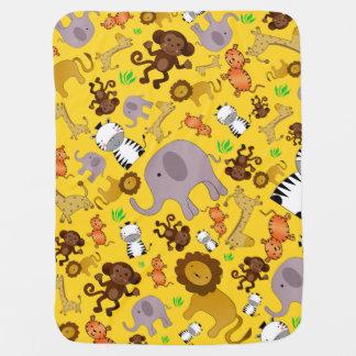 Manta Para Bebe Animais amarelos do safari de selva