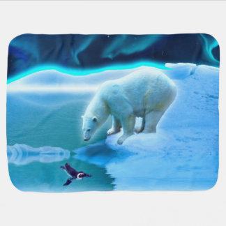 Manta Para Bebe Arte da amizade do urso polar e do pinguim do bebê