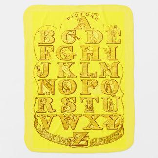 Manta Para Bebe Carta amarela ensolarada do alfabeto da cobertura