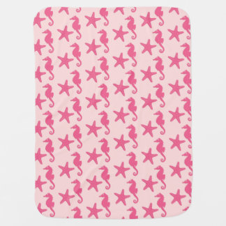 Manta Para Bebe Cavalo marinho & estrela do mar - rosa do coral