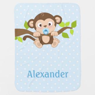 Manta Para Bebe Cobertura azul do bebê das bolinhas do macaco