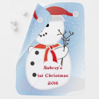 Manta Para Bebe Cobertura do boneco de neve do Natal do bebê feito