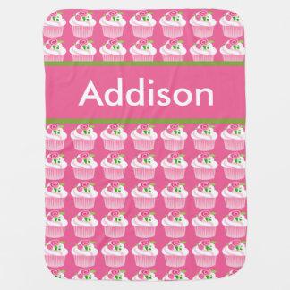 Manta Para Bebe Cobertura personalizada do cupcake de Addison