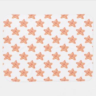 Manta Para Bebe design alaranjado da praia da estrela do mar da