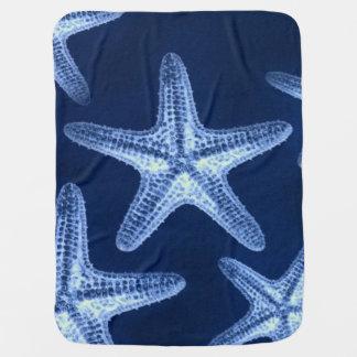 Manta Para Bebe estrela do mar azul náutica rústica da praia