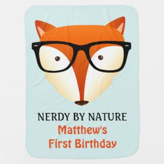 Manta Para Bebe Fox bonito e engraçado do primeiro aniversário do