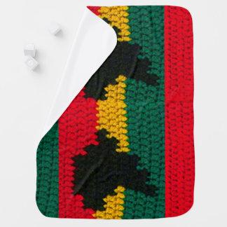 Manta Para Bebe Impressão vermelho do Crochet do verde do ouro do