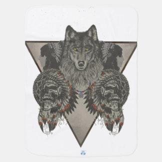 Manta Para Bebe Indianos crânio e design do lobo