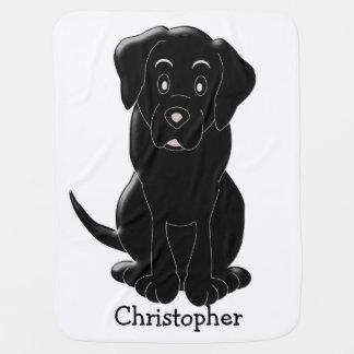 Manta Para Bebe Labrador preto personalizado