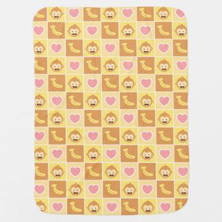 Manta Para Bebe Macaco bonito, banana, teste padrão do coração