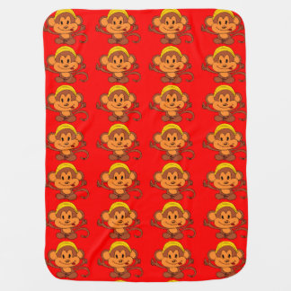 Manta Para Bebe Macaco brincalhão bonito com vermelho/Brown da