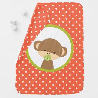 Manta Para Bebe Macaco do bebê de Brown com o Pacifier em bolinhas