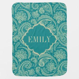 Manta Para Bebe Monograma azul esverdeado & bege de Paisley do