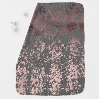 Manta Para Bebe ouro cor-de-rosa do falso elegante e brushstrokes