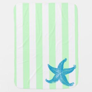 Manta Para Bebe Praia estrela do mar listrada verde e branca de
