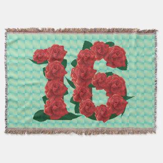 Manta Rosas vermelhas do aniversário do doce 16