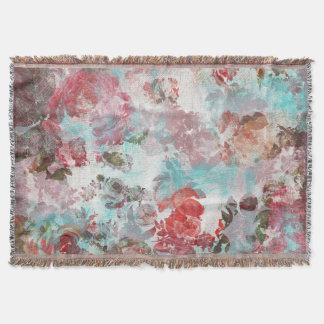 Manta Teste padrão floral cor-de-rosa chique romântico