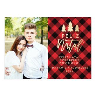 Manta Vermelha Feliz   natal Cartão De Natal Convite 12.7 X 17.78cm