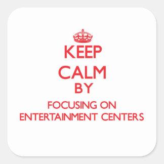 Mantenha a calma centrando-se sobre CENTROS de Adesivos Quadrados