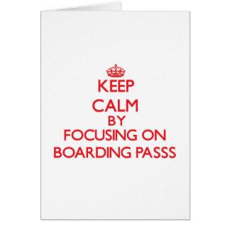 Mantenha a calma centrando-se sobre o embarque de cartão comemorativo