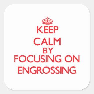 Mantenha a calma centrando-se sobre REDIGIR Adesivos Quadrados