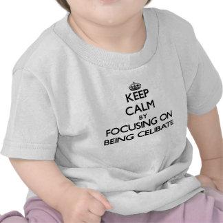 Mantenha a calma centrando-se sobre ser celibato camisetas