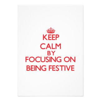 Mantenha a calma centrando-se sobre ser festivo convite personalizado