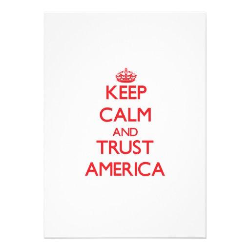 Mantenha a calma e a CONFIANÇA América Convite Personalizado