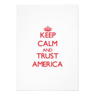 Mantenha a calma e a CONFIANÇA América Convite Personalizados